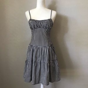 Nanette Lepore Polka Dot Tiered Lace Up Dress